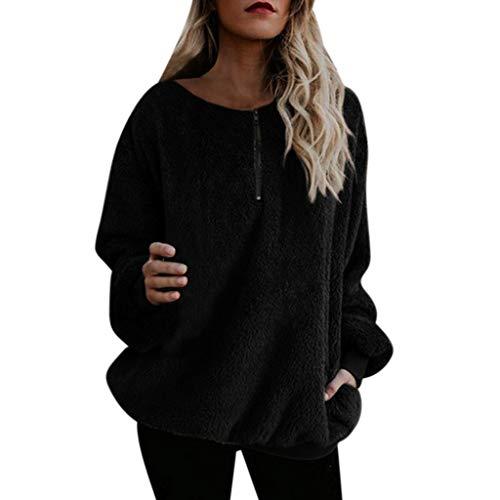 BASACA Damen Kapuzenpullover Hoodie Mantel Frauen Warmer Flaumiger Winter Sweatshirt Kapuze Langarm Oberteile Outwear Jacke Pulli Pullover Mode (M, Schwarz) -