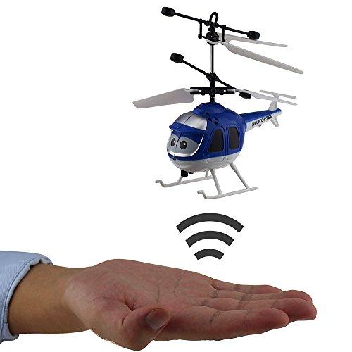 Tipmant Mini Infrarot Induktion Hubschrauber Hand-Sensor Flugzeug Airplane Kinder Elektrisches Spielzeug Geschenk (Keine Fernbedienung) (Azul)