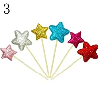 Glassgow uhoMEy 6pcs Happy Birthday Cake Bunting Banner Flag Food Topper Shower Party Decors