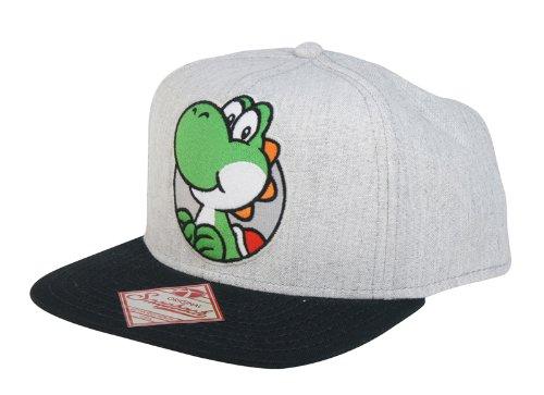 Super Mario Bros. Flat Bill Schirmmütze Mütze Base Cap Kappe Basecap: Yoshi (Grau/Schwarz)