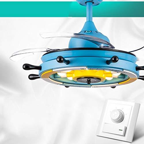Ventilador moderno minimalista luz Ventilador de techo luminoso Comedor Salón Blanco y...