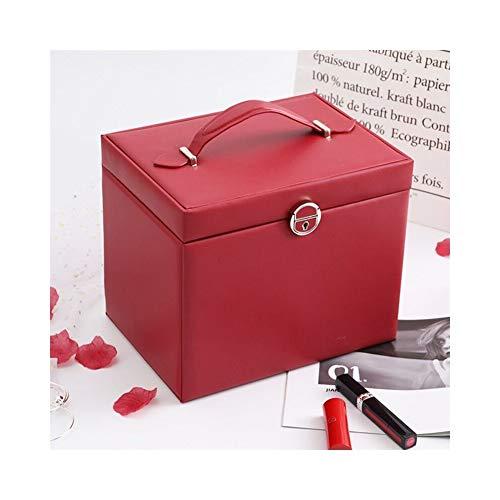 Yzyamz Schmuck Aufbewahrungsbox Fünfschichtige, großvolumige Schmuckschatulle mit Spiegel Hochwertige, einfache Ohrringe Ring Armband Halskette Schmuck Aufbewahrungsbox Weiß, Rot, Rosa, Schwarz - Schublade Montage-kit