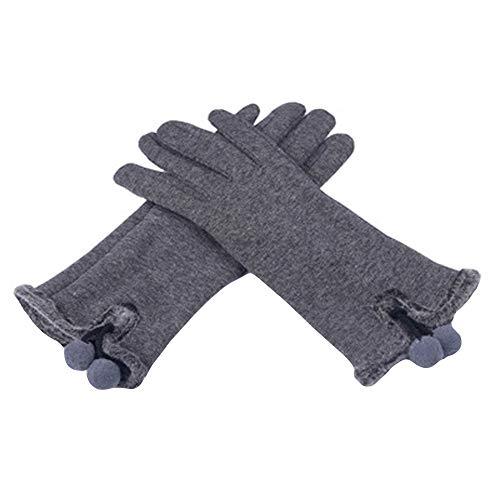OSYARD Damen Handschuhe Fäustlinge Smartphone Touch Screen Wollhandschuhe Winterhandschuhe mit Fleecefutter, Winter Warm Vollfinger Handschuhe für Radfahren Laufen Golf Wandern in Schwarz und Grau