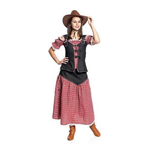 Kostümplanet® Cowgirl-Kostüm Damen Cowboy-Kostüm mit langem Rock Wilder-Westen Faschingskostüm Größe 40/42 (Damen Kostüm Cowgirl)