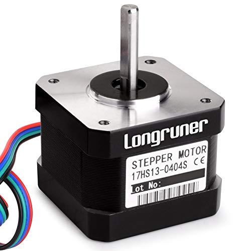 Motor paso a paso, Longruner Nema 17 Bipolar de 42 mm (26 Ncm) 12 V, 0,4 A, para impresora 3D Hobby CNC 17HS13 0404S LQD06