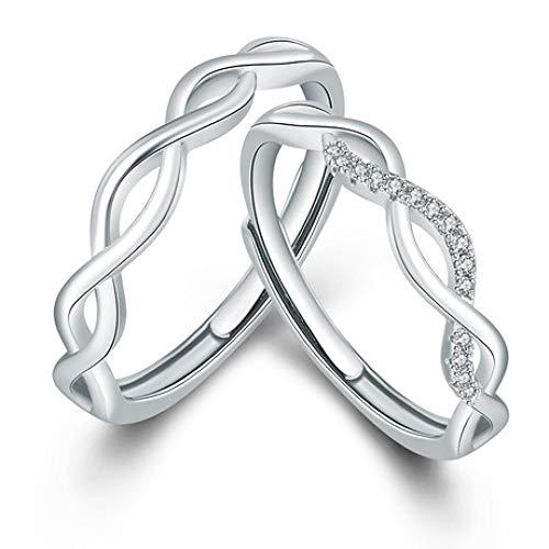WHX DamenRingeEdelstahl,Paar Wave Ring Live Mund Vorschlag Schleifen für alle Gelegenheiten