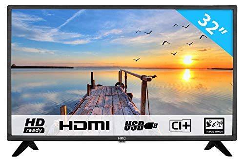 HKC 32F1D 80 cm (32 Zoll) LED Fernseher (HD, Triple Tuner, CI+, 3X HDMI, Mediaplayer USB 2.0) [Energieklasse A]