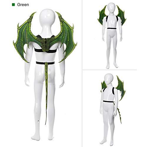 enflügel Set Kinder Fantasie Halloween Dinosaurio Drache Kostüm Kinder Tiermaske Flügel Schwanz Zubehör grün ()