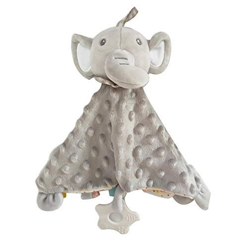 Danolt baby Sicherheitsdecken 3D Plüschdecke Elefant Puppe Spielzeug mit Greiflingen, Glocke, bunten Mustern Tag Geschenk für Baby-Dusche Neugeborene Mädchen Jungen Geburtstag.