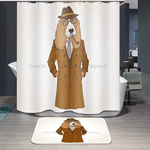 SillyXLL Mode Tier Duschvorhang Braun Mantel, Wasserdicht Und Mildew Beständiges Polyestergewebe, Bad Drapieren 180X180 cm, Freier Teppich