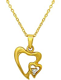 Mahi Valentine's Day Gift Heart Bunch Of Love Gold Plated Pendant With CZ For Women PS1101599G