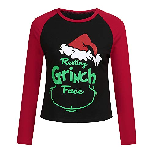 Weihnachtsmann Gesicht T-shirt (Familie Kleidung, Malloom Mutter Tochter Kinder Baby Familie Weihnachten Cartoon Brief T-Shirt langärme Bluse Tops Kleidun gmit Grinch Gesicht Druck)