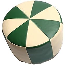POUF Puf Asiento Taburete taburete Y20658Muebles taburete redondo piel sintética verde/champán Diámetro 50/34cm