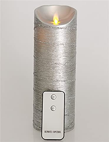 9inch Silber Elektronische LED Kerze Echtes Wachs Umzug Wickess LED Flammenlose Kerzen S?ule Lights Batterie