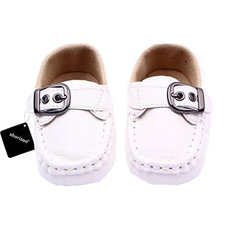 xhorizon TM MLK Chaussures de bébé unisexes en cuir souple Toddler pour enfant garçons filles Blanc(0-6M/10.5cm)