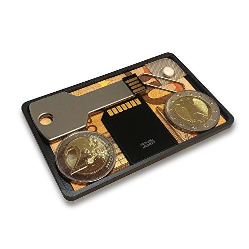 AARÁNDANO ™ BIGGER CoinCard - Münzfach aus Aluminium für dein slim-wallet, Kredikartenetui oder kleine Geldbörse (carbon-black, 4mm large)