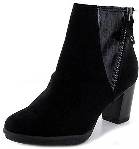 MARCO TOZZI Damen Stiefel Stiefelette in schwarz comb. Blockabsatz Schwarz