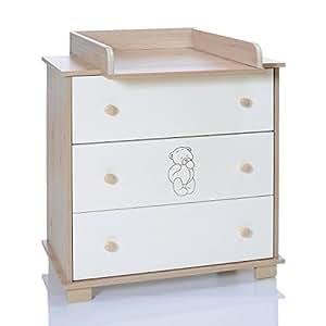 Commode Bebe avec Table de Langer Amovible et 3 Grand Tiroirs - Ours beige