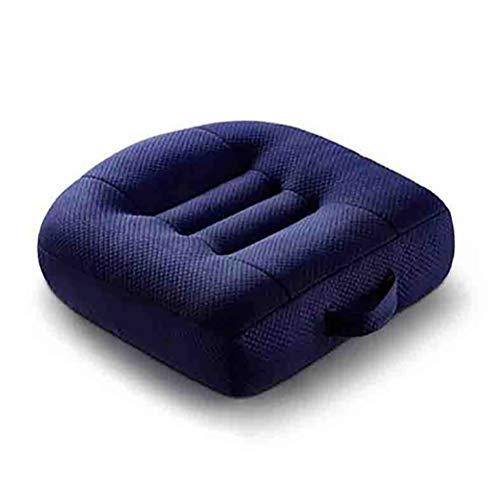 SXTYRL sitzkissen orthopädisch autositz, Relax Tröster Kissen Kissen Booster Höhenverstellbare Universal-Sitzmatte Innenministerium Reise Rollstuhl Auto Auflage-Schwarz, Blue -