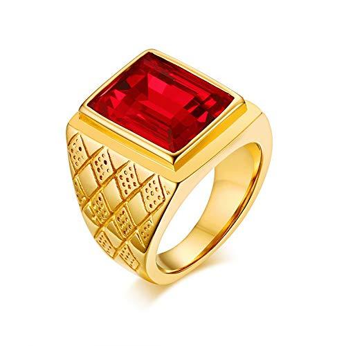 Herren Ring,Gold - Farbe Square Cut Rot Strass Ring Edelstahl Hochzeit Verlobung Bands Modeschmuck Valentinstag, 11.