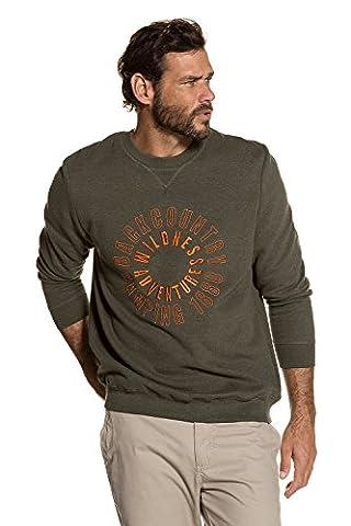 JP 1880 Homme Grandes tailles Sweat Shirt Chaud et Respirant Homme Manches Longues Sweat-shirt Hoodie Pullover olive foncé chiné XXL 711333 45-XXL