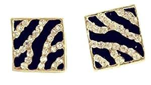 Demarkt Femme Fashion Boucle d'Oreilles Rectangulaires avec Diamants Simulés en Couleur Léopard