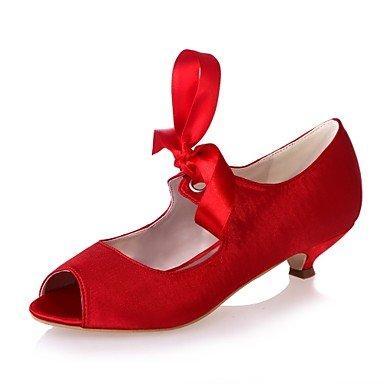 Wuyulunbi@ Scarpe donna raso Primavera Estate della pompa base di nozze tacco Scarpe Peep toe lacci per party di nozze & Sera Argento Rosso Blu Rosso