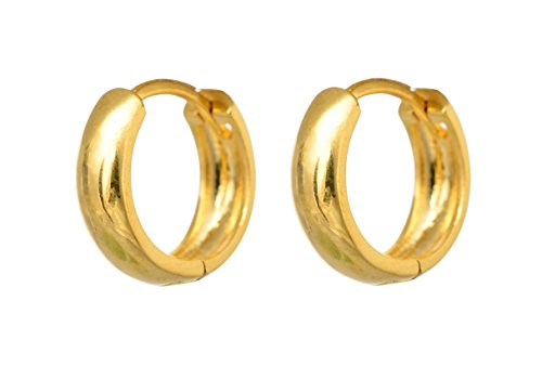 BeBold Piercing Gold Stainless Steel Salman Style Plain Fashion Bali Round Studs Earring for Men Boys