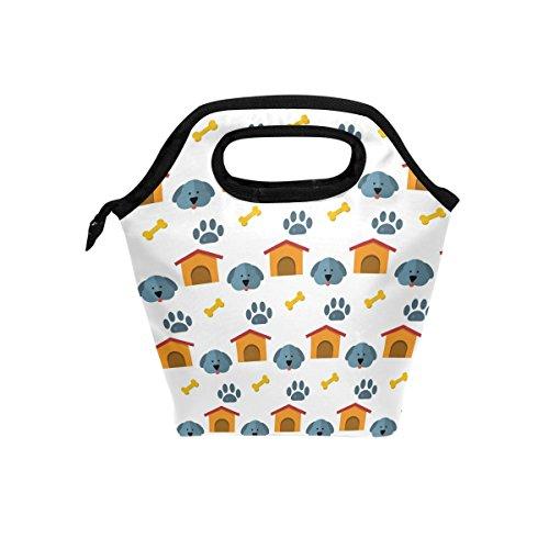 Jungen Knochen (Süßer Hund Knochen Paw Prints Isolierte Lunch-Tasche Tote für Frauen Kids Erwachsene Lunchbox Cooler mit Reißverschluss Jungen, Mädchen, Herren)