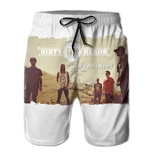 Feng Huang Herren Dirty Heads Badeshorts Schnell trocknend Lace Beach Board Shorts Mesh Beachwear XL (Dirty Board)