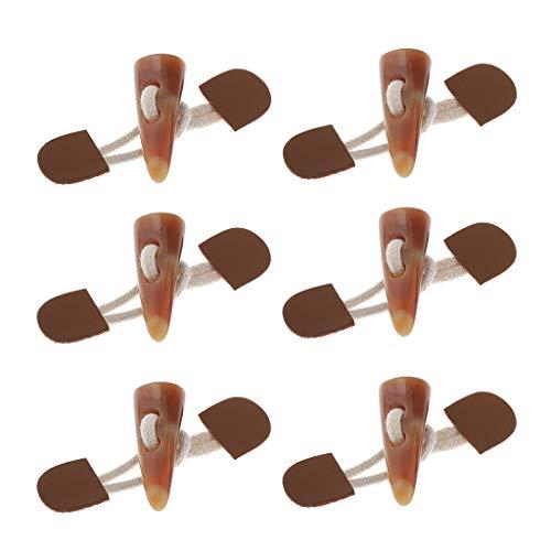 IPOTCH 6X PU Leder Knebelknöpfe Dufflecoat Verschluss mit Kordel und Harz knebel für Mantel, Jacke, Kleidung, Dekoration - Holz-kleidung