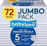 babylove Windeln Premium aktiv plus Größe 5, junior 12-25kg, Jumbo Pack, 2x36 Stück, 72 St