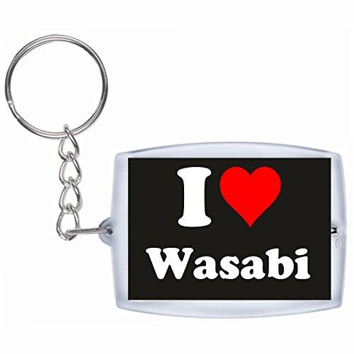 Druckerlebnis24 Schlüsselanhänger I Love Wasabi in Schwarz, eine tolle Geschenkidee die von Herzen kommt| Geschenktipp: Weihnachten Jahrestag Geburtstag Lieblingsmensch Schwarz, Wasabi