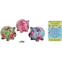 Preisvergleich für +d Porzellan Spardose Schwein mit Blumendekor 2er Set & Postkarte Wie wär`s mal Wieder mit Einem ... - Set ~