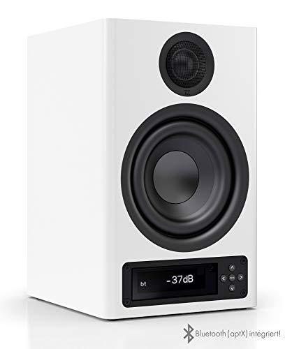 Regallautsprecher | Bluetooth Lautsprecher aptX | Lautsprecher Verbindung kabellos High Res | aktive Regalbox mit 2 Wege Technik | High End Kompaktlautsprecher Weiß | 1 Stück ()