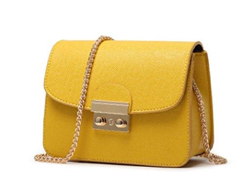 Mini Frauen Schultertasche PU Leder Nachricht Kleine Handtaschen Mit Ketten Schultergurt Handytasche Kreuz Körper Tasche (8 Farben) Yellow