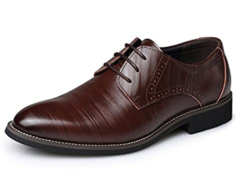 Eagsouni™ Herren Halbschuhe Derby Schnürhalbschuhe Leder Oxford Business Schuhe Braun EU 37 / CN (Leder Oxford Cap)