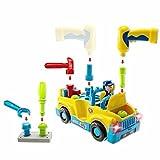 Bump und Go Spielzeugauto Multifunktions Spielzeug Werkzeug LKW mit Elektrobohrer und verschiedene Werkzeuge, Lichter und Musik für Kinder