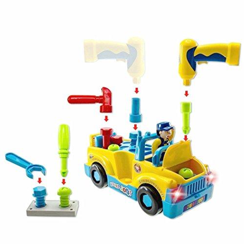 Montage Spielzeug Set Spielzeugauto Multifunktions Baufahrzeuge Auto Werkzeug LKW mit Elektrobohrer und Verschiedene Werkzeuge, Lichter und Musik Für Kinder