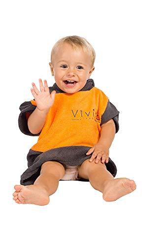 Vivida Lifestyle Baby Kapuzen Poncho Umziehhilfe, Strand, Bad, schwimmen, schnelltrocknend, Kleinkind-Baby Größe, Mädchen-Jungen, verschiedene Farben (Orange-Grau)