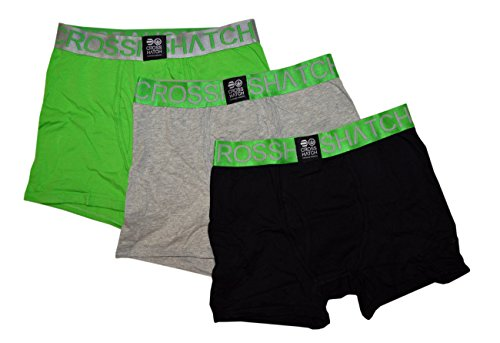 CROSSHATCH Boxershorts Boxer RGB CH 3PK PLAIN BOXERS Unterhose 3er Pack (S, grün, grau, schwarz: CLASSIC GREEN)