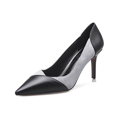 AalarDom Damen Stiletto Gemischte Farbe Ziehen Auf Spitz Zehe Pumps Schuhe Grau