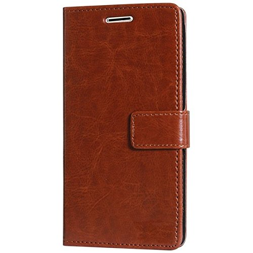 Vinnx Vintage Leather Wallet Flip Cover for Samsung Galaxy On8 (Brown)