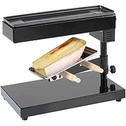 Appareil à raclette pour une pièce entière de fromage à raclette, appareil sur pied (appareil à faire fondre le fromage, 600W, hauteur et angle réglables, thermostat)