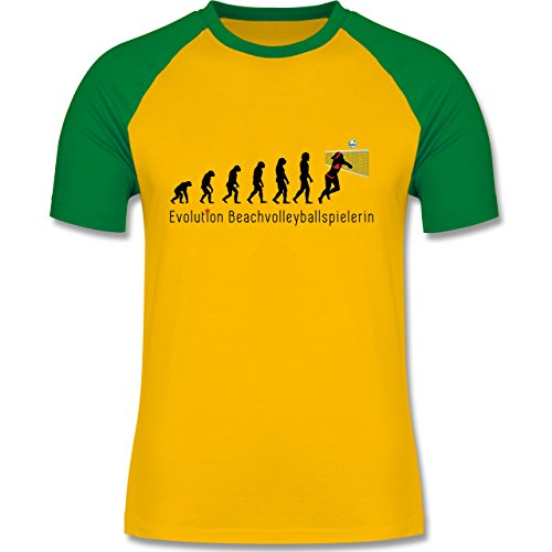 Evolution - Beachvolleyballspielerin Evolution - zweifarbiges Baseballshirt für Männer Gelb/Grün