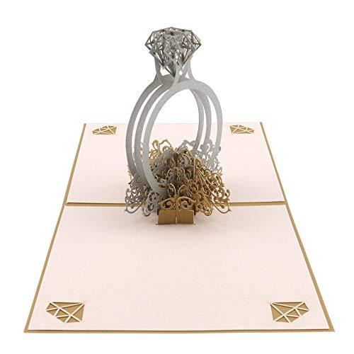 YINETTECH Diamantring Pop Up 3D Popup Grußkarte mit Umschlag Jubiläum Valentinstag 15x15cm