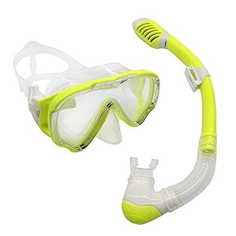 YI Go pour enfant avec tuba Convient–Masque de plongée et secs pailles sont en verre trempé objectifs et bandeau réglable pour filles et garçons