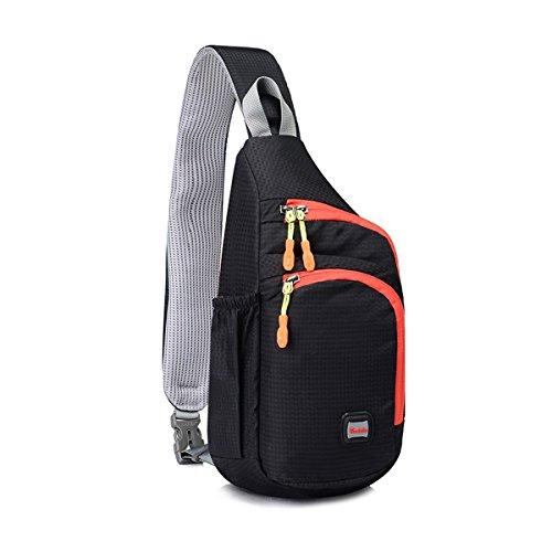 Sling Rucksack , Doppelte Reißverschluss Seiten-Wasser Flaschen Tasche für Outdoor Radfahren Camping nylon plastic black, by LC Prime