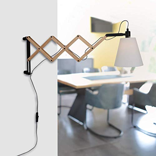 Wandleuchte aus Birkenholz mit Ziehharmonika-Arm, Scherenwandleuchte im skandinavischen Design, Wandlampe inkl. Leuchtmittel