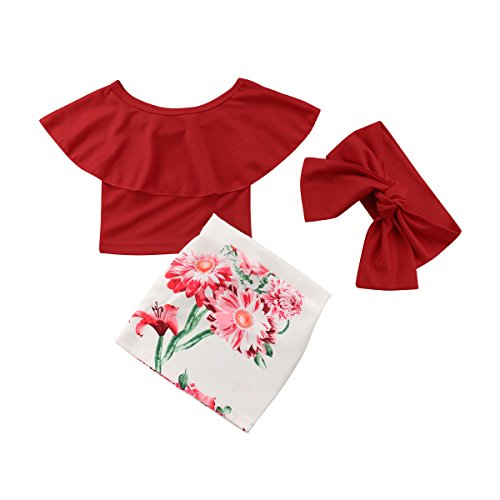 3tlg Outfit Baby Mädchen Schulterfrei Lotusblatt Kragen Kurze Tops Blumen Rock Taschenrock mit Stirnband (130/4-5Jahre alt, Rot)